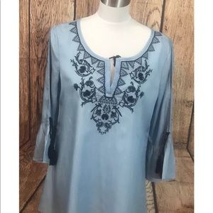 Crown & Ivy Blue Open Arms Sleeves tunic Size S